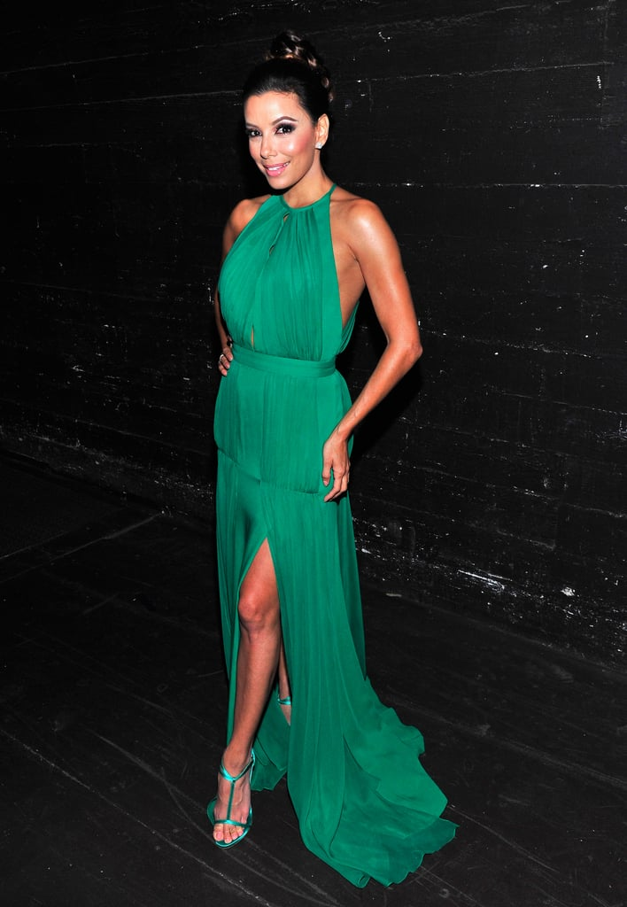 Eva wowed in a bold green gown backstage at the 2013 ALMA Awards.