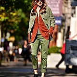 Hack: Try mixing military green with burnt orange suede. It's a classic color combination that pops from miles away in the sunlight.