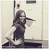 Autumn Reeser gave a hello from the set of Necessary Roughness. Source: Instagram user Autumn Reeser
