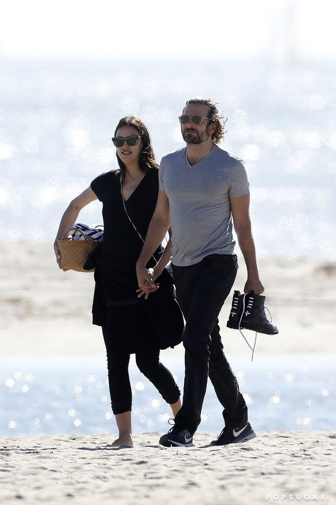 Irina Shayk and Bradley Cooper at the Beach in LA Feb. 2017