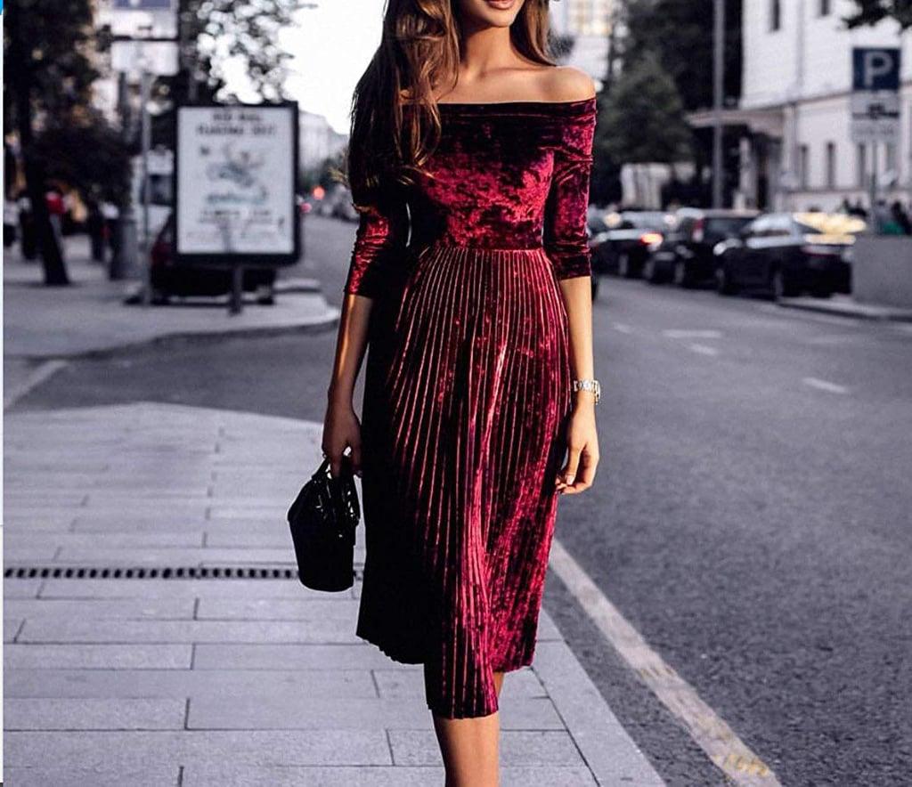 Leezeshaw Off-Shoulder Velvet Pleated Dress