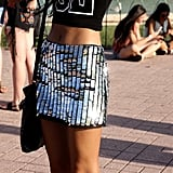 Onlookers needed sunglasses before staring directly at this metallic Topshop skirt!