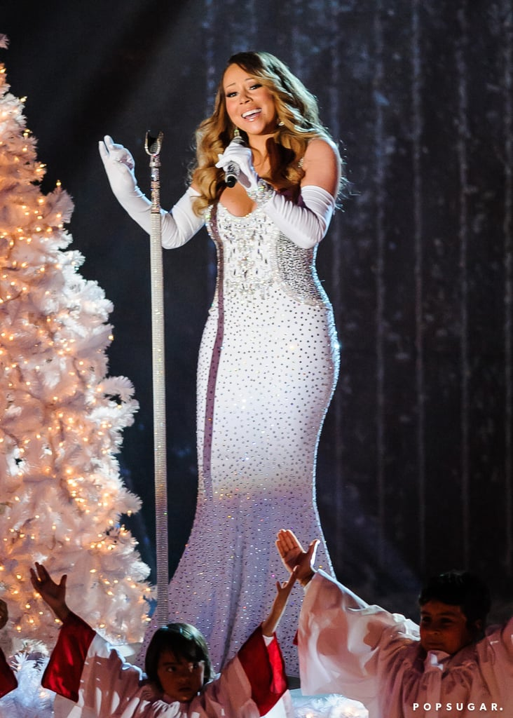 Mariah Carey sang her iconic holiday songs for the annual lighting of the famed Christmas tree in Rockefeller Center in NYC.