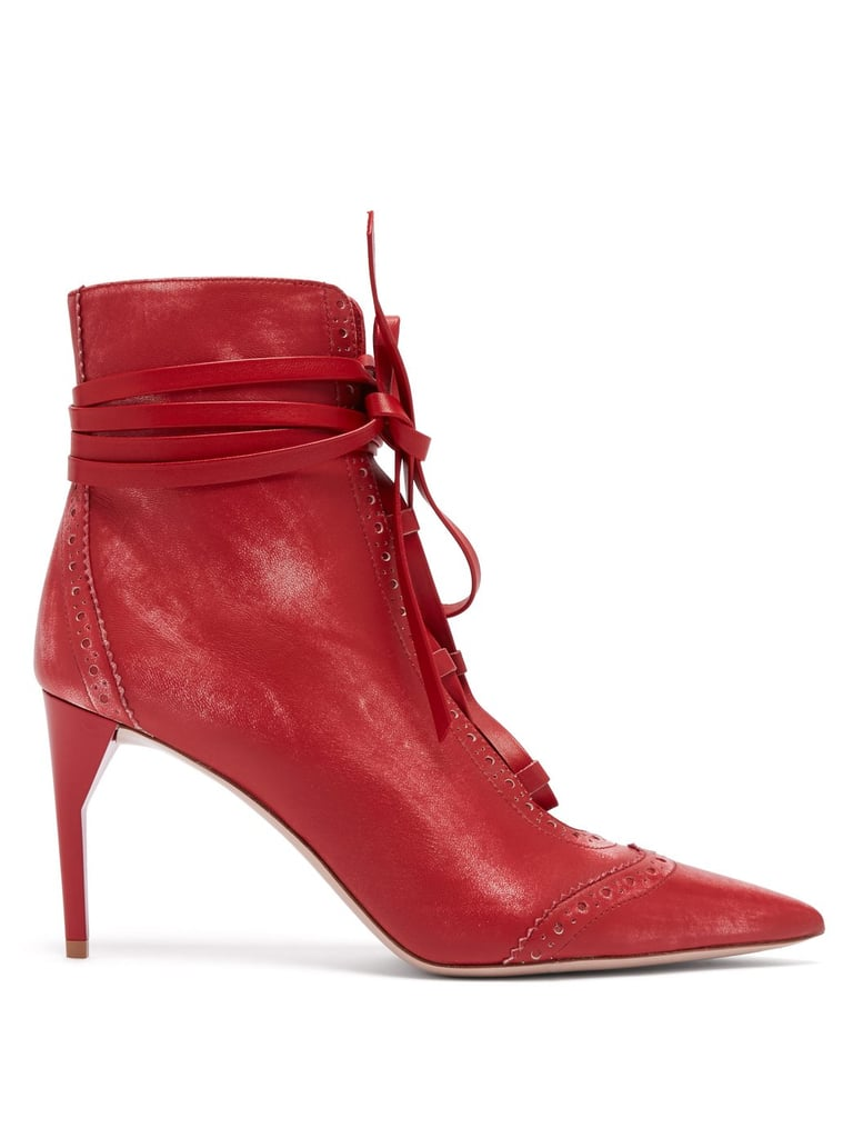 b73c6a7098ab Our Pick  Miu Miu Point Toe Lace-Up Leather Ankle Boots