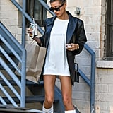 Hailey Baldwin Wearing White Boots