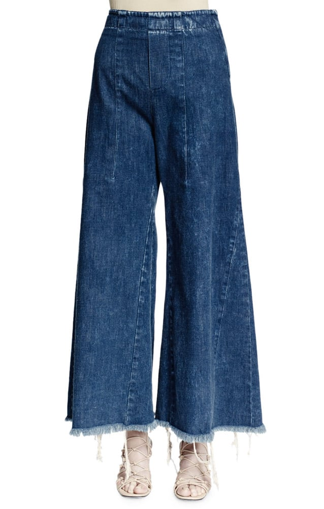 Chloe Wide-Leg Raw-Hem Cropped Jeans ($750)