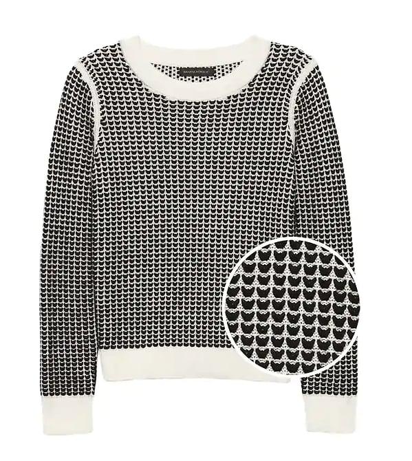 Heart-Stitch Crew-Neck Sweater