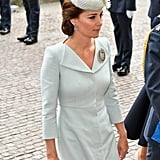Kate Middleton's Blue Alexander McQueen Coat and Beige Heels