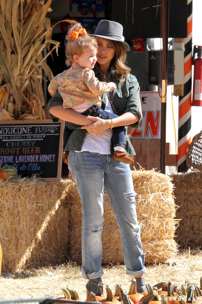 Jessica Alba held on to her daughter Haven Warren at the pumpkin patch in LA.