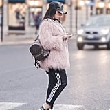 A Furry Coat Will Seem More Casual When Worn With Trackpants