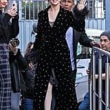 Selena Gomez Wearing a Miu Miu Velvet Coat in Paris