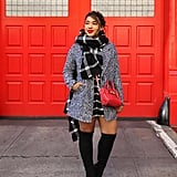 A Wraparound Scarf, a Salt and Pepper Coat, and Knee-Highs