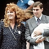 The Duke and Duchess of York left the hospital with their first child, Princess Beatrice, in August 1988.