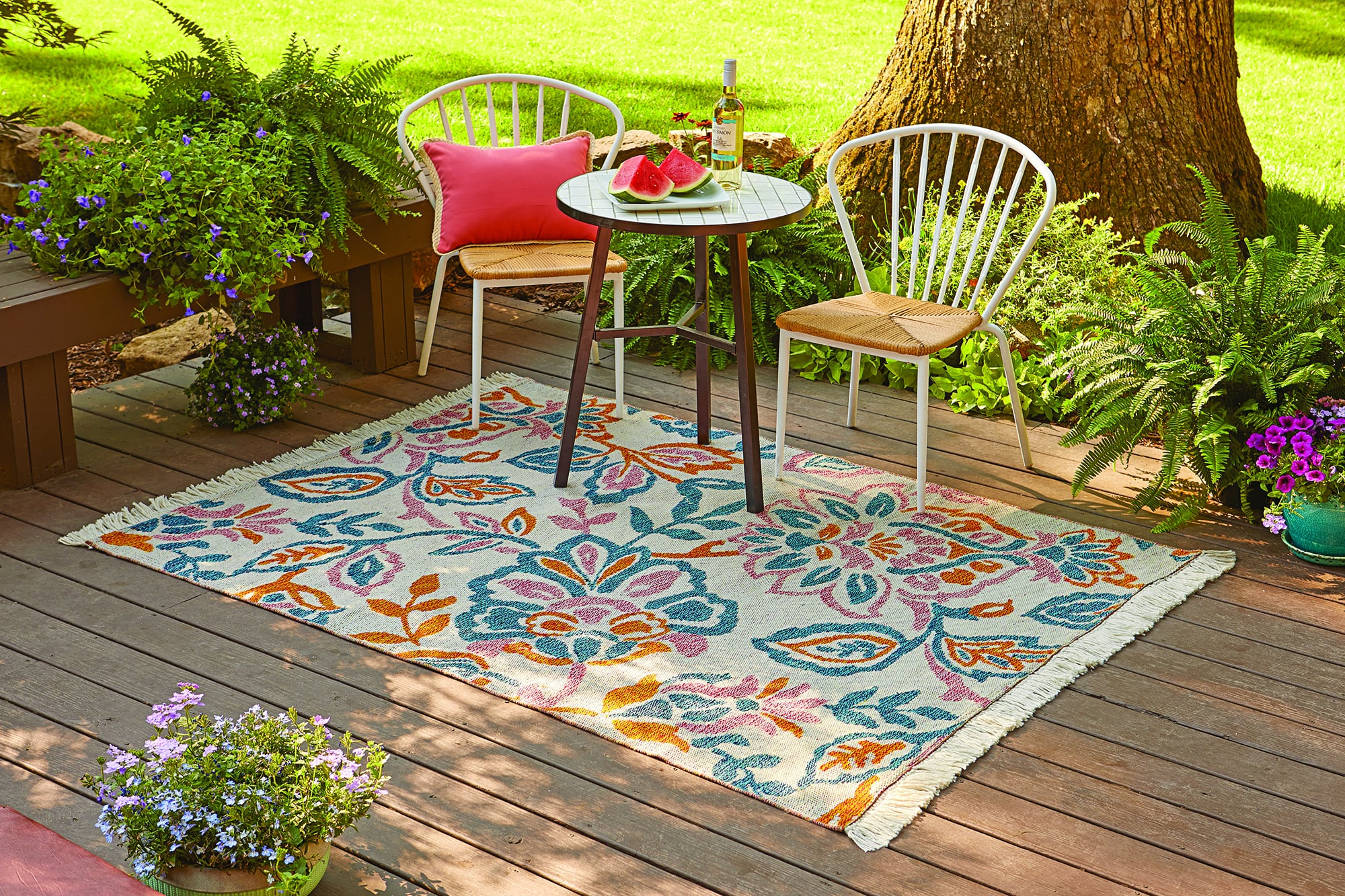 Better Homes And Gardens Outdoor Playful Jacobean Woven Rug The