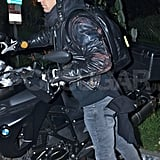 Justin Theroux hopped on his motorcycle.