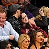 Nick Zano kissed girlfriend Kat Dennings on the head during a November Lakers game at the Staples Center.