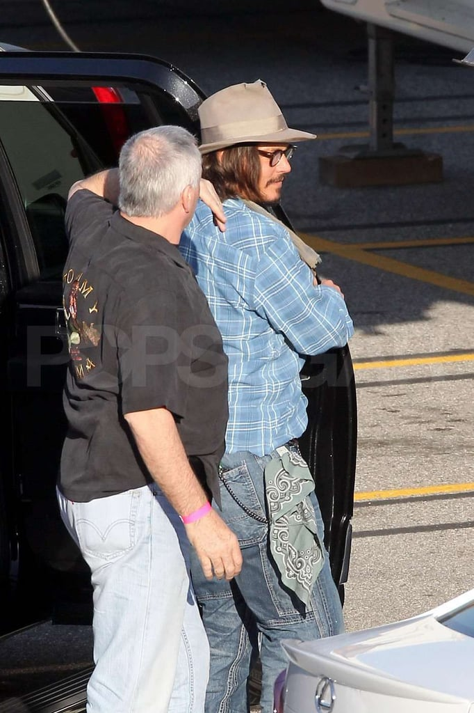 "Johnny Depp paid a special visit to the LA set of Jack and Jill yesterday afternoon. He's rumored to be making a small cameo in the film, which stars Katie Holmes and Adam Sandler. Katie and Adam have been working on the animal-friendly movie for the last few weeks on the West Coast following a stint shooting in Florida. Johnny, meanwhile, has had time off from after spending the Summer on Pirates of the Caribbean: On Stranger Tides to enjoy vacations with family and make the award season rounds — he accepted an honor at the People's Choice Awards, and looked like his usual dashing self at Sunday's Golden Globes. Johnny's also prepping to star in Disney's Lone Ranger, and he recently spoke about the progress of that project. He said, ""I think it's going to be good, when we have a chance to put it up on its feet . . . What we've got so far screenplay-wise is really great, really funny."""