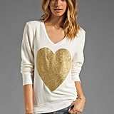 We're loving Wildfox Couture's Gold Sparkle Heart Jumper ($108) — it's a cute year-round piece.