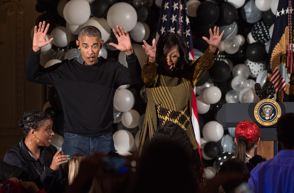 """We've been blessed with Barack's epic dance moves before, but his routine to Michael Jackson's """"Thriller"""" with Michelle at their last White House Halloween party was hilarious."""