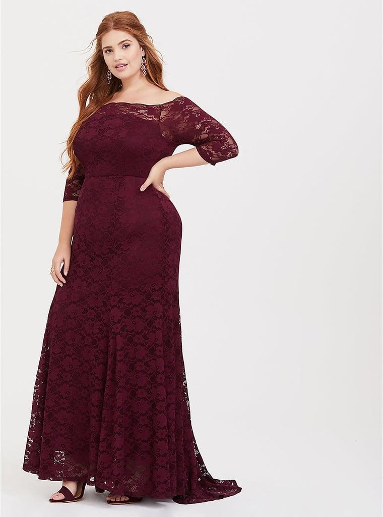 866aa724fcb0 Torrid Burgundy Lace Off Shoulder Maxi Dress