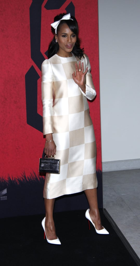 Kerry Washington looked marvelously mod in Louis Vuitton's white-and-ivory midi-length dress, white Christian Louboutin pumps, and a bow headband for the Django Unchained Berlin photocall.