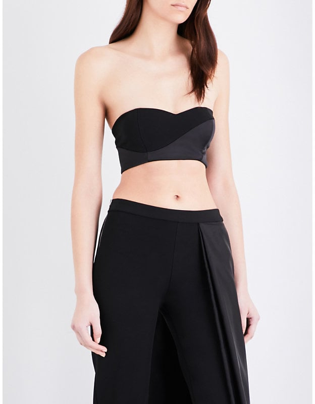 Caitlin Price Bandeau crepe and satin cropped top