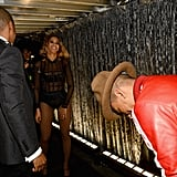 Pharrell Williams had to bow to Queen Bey after she finished her performance at 2014 Grammys.