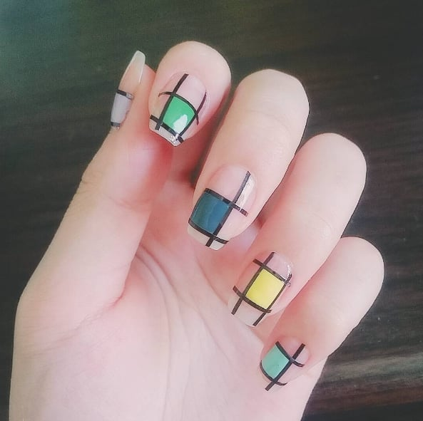 Color block nail art popsugar beauty colorblock nails are the hottest new influencer beauty trend prinsesfo Images