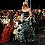 Claire Danes looked great on the red carpet, but her Louis Vuitton was a picture of elegace in motion when we accepted her award.
