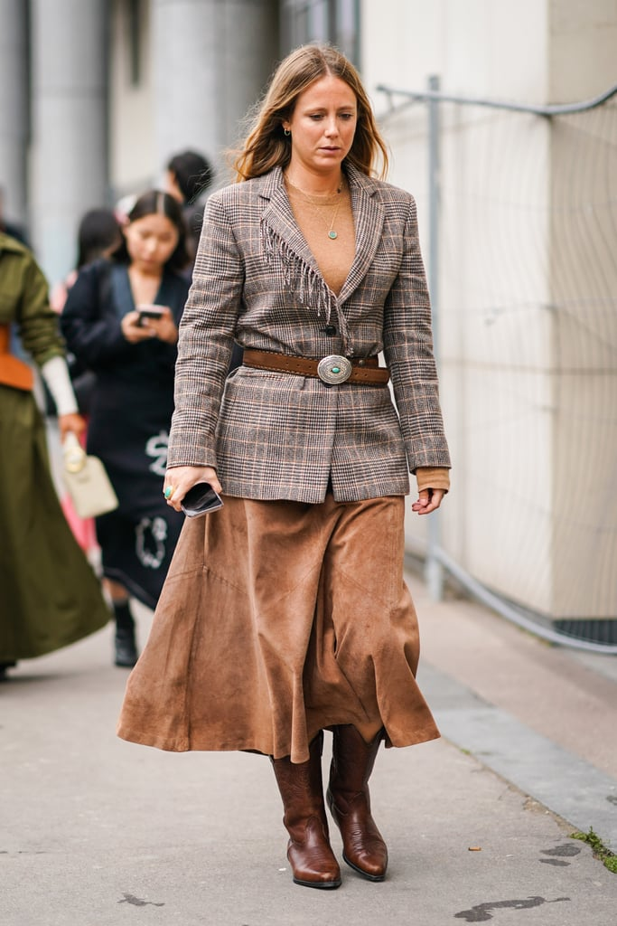 How to Wear Suede: An A-Line Skirt