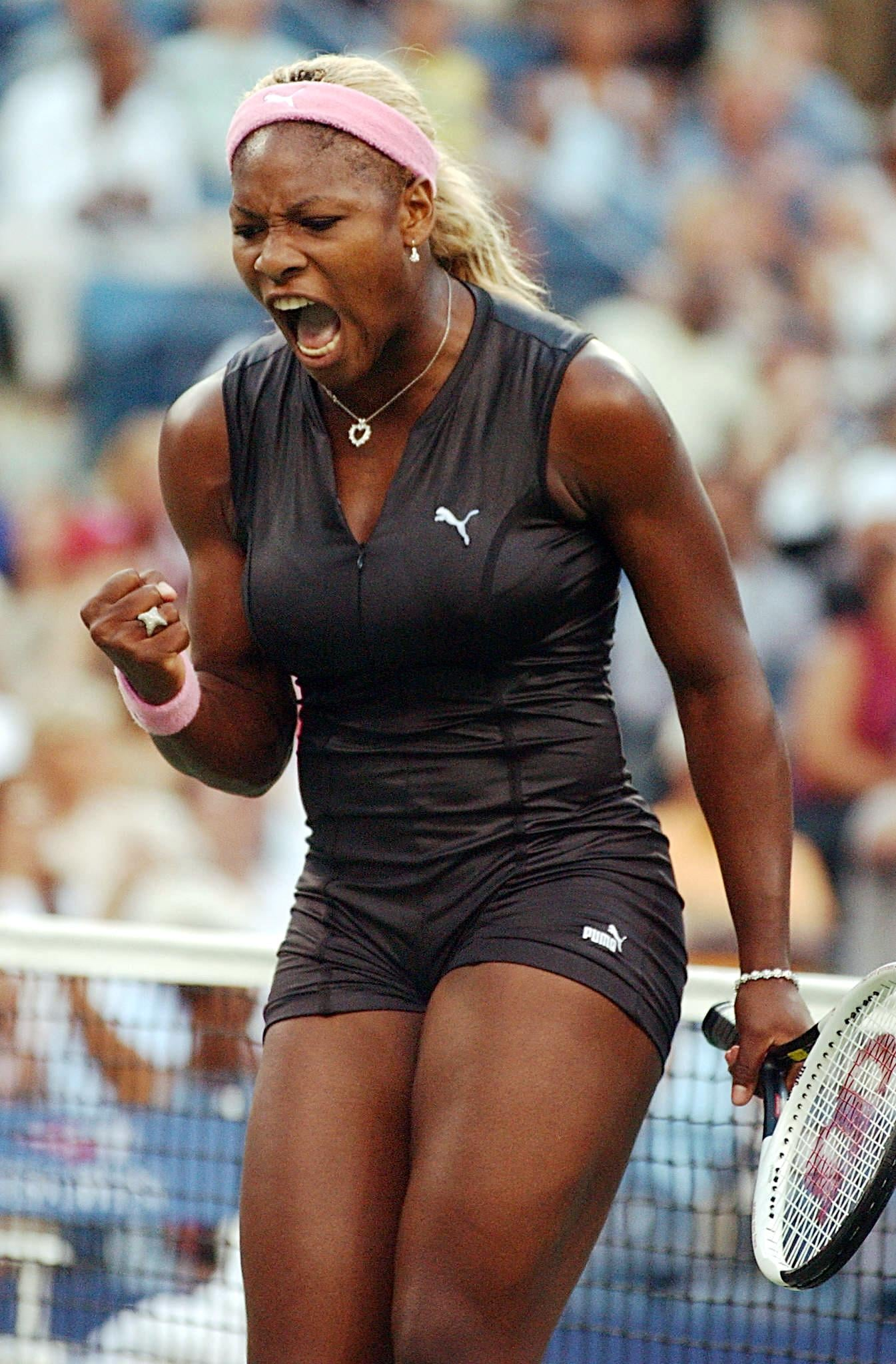 Serena Williams donned a leather catsuit by Puma at the 2002