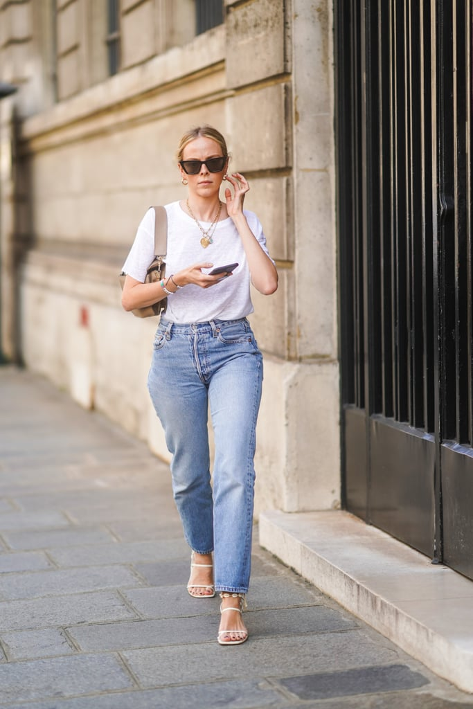 Think Simple: A White Tee, Mom Jeans, and Strappy White Sandals Make the Perfect Look