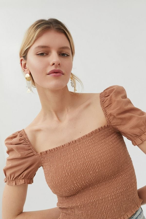 Urban Outfitters Sabrina Smocked Square Neck Top