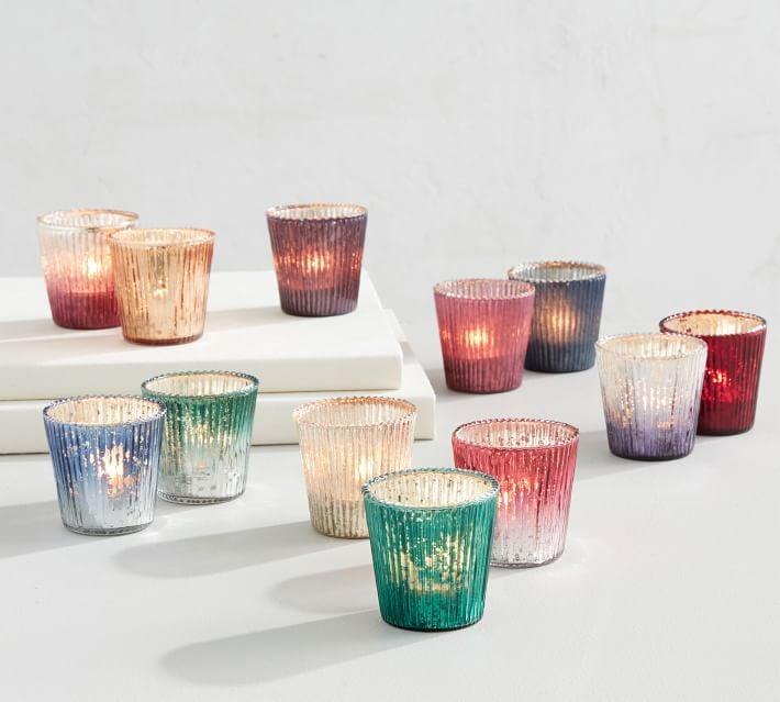 Jewel Tone Mercury Glass Candle Holders, Set of 12