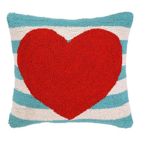 Toss a bright Striped Heart Pillow ($45) on the sofa for instant Valentine's Day flair.