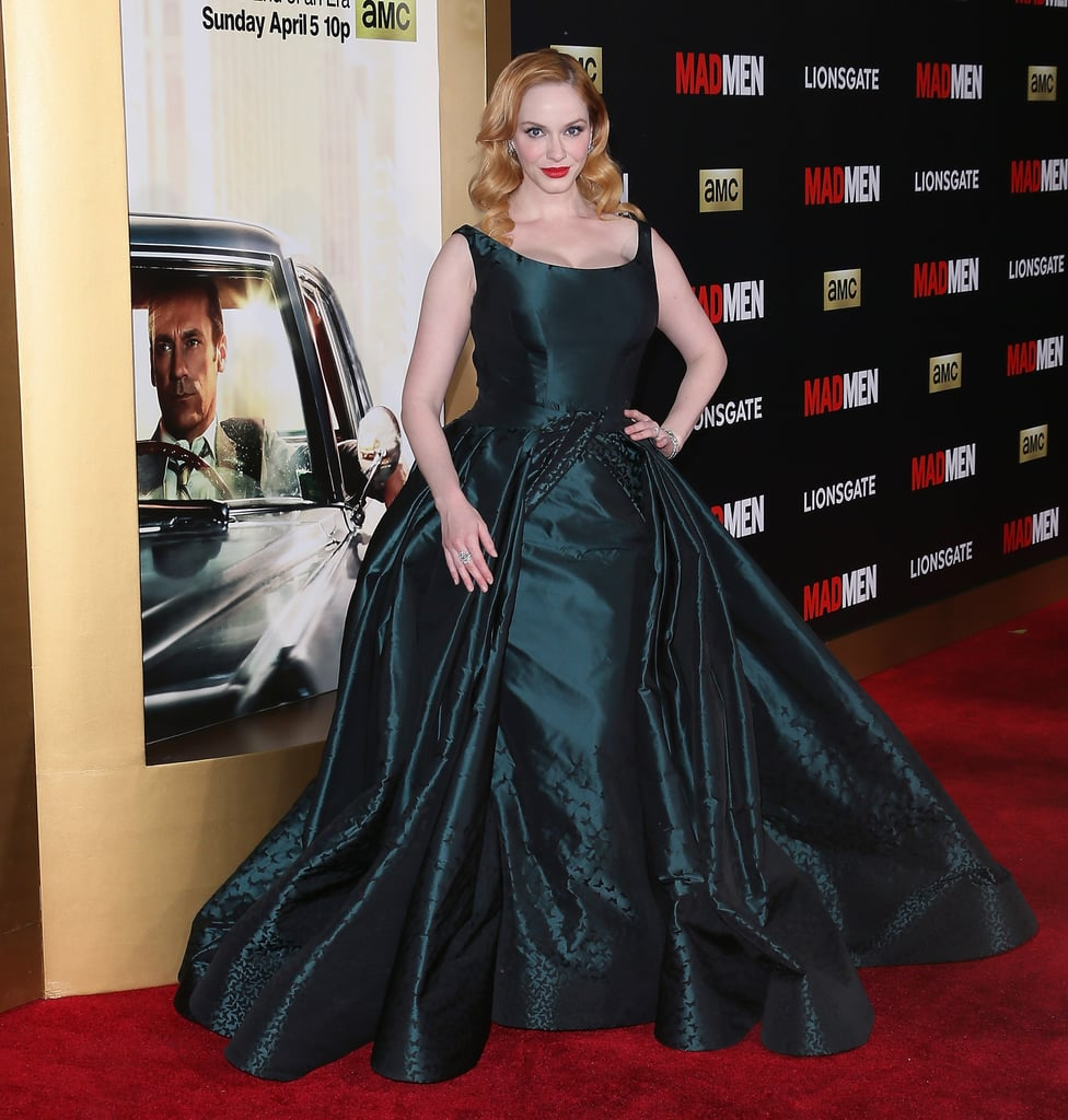 cd0d8b974acb Christina Hendricks showed up to the red carpet wearing a gorgeous teal Zac  Posen ball gown