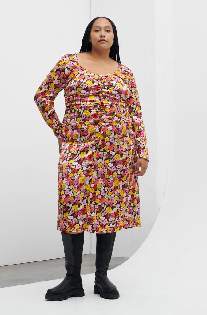 Ganni Silk Stretch Satin Gather Dress