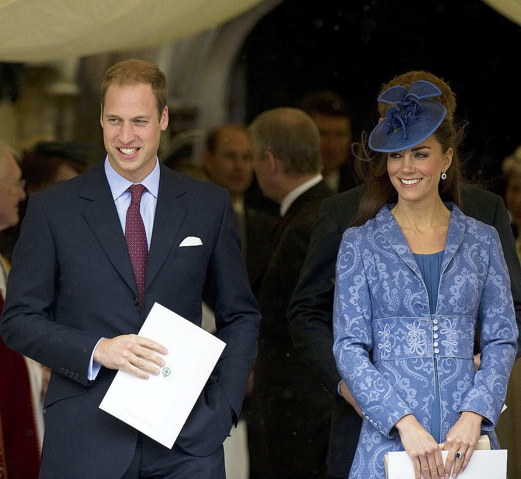 Prince William and Kate joined the royal family at church services in Windsor, England, in June 2011 to celebrate Prince Philip's 90th birthday. She donned a blue Zara dress, a Philip Treacy hat, a Jane Troughton embroidered jacket, and LK Bennett pumps.
