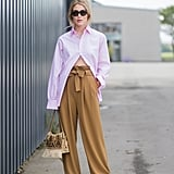 Unbutton Your Blouse to Show Off the Details on Your High-Waisted Pants