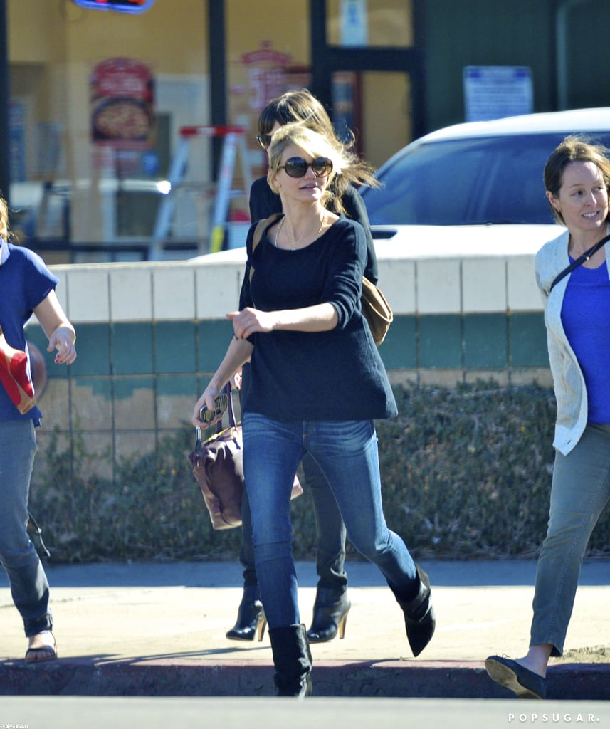 Cameron Diaz crossed an LA street to her car after grabbing lunch with a few girlfriends yesterday. She's been all about meeting up with pals after sharing dinner with Gwyneth Paltrow and Chris Martin on Monday night. Cameron and Gwyneth hugged and laughed as they wrapped up their night out at Sugarfish in Brentwood. Cameron is back on the West Coast following a stint last month overseas in Spain, where she filmed The Counselor with Javier Bardem. She has another big-screen project on the way, too. Her Gambit, with Colin Firth, will be out sometime next year since the original Fall 2012 release date was pushed back.