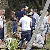 Leonardo DiCaprio talked to the staff at the Australia Zoo.