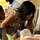 Michelle Obama spent time with the schoolchildren.