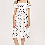Topshop Spot Shirred Strappy Midi Dress