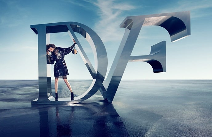 Logos (loud and clear) are a mainstay theme of Diane von Furstenberg's Fall campaign.