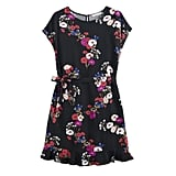 Tie Waist Dress in Jet Black Falling Floral