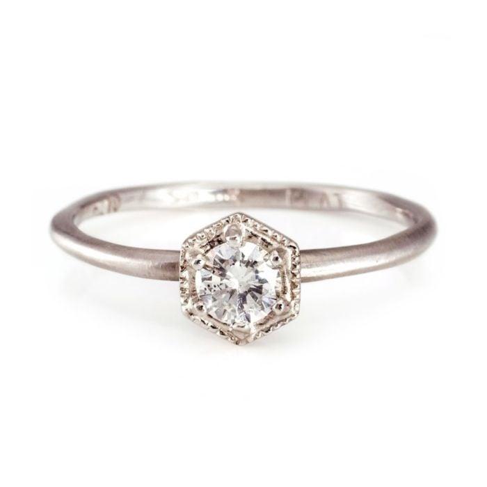Platinum White Diamond Hexagon Ring