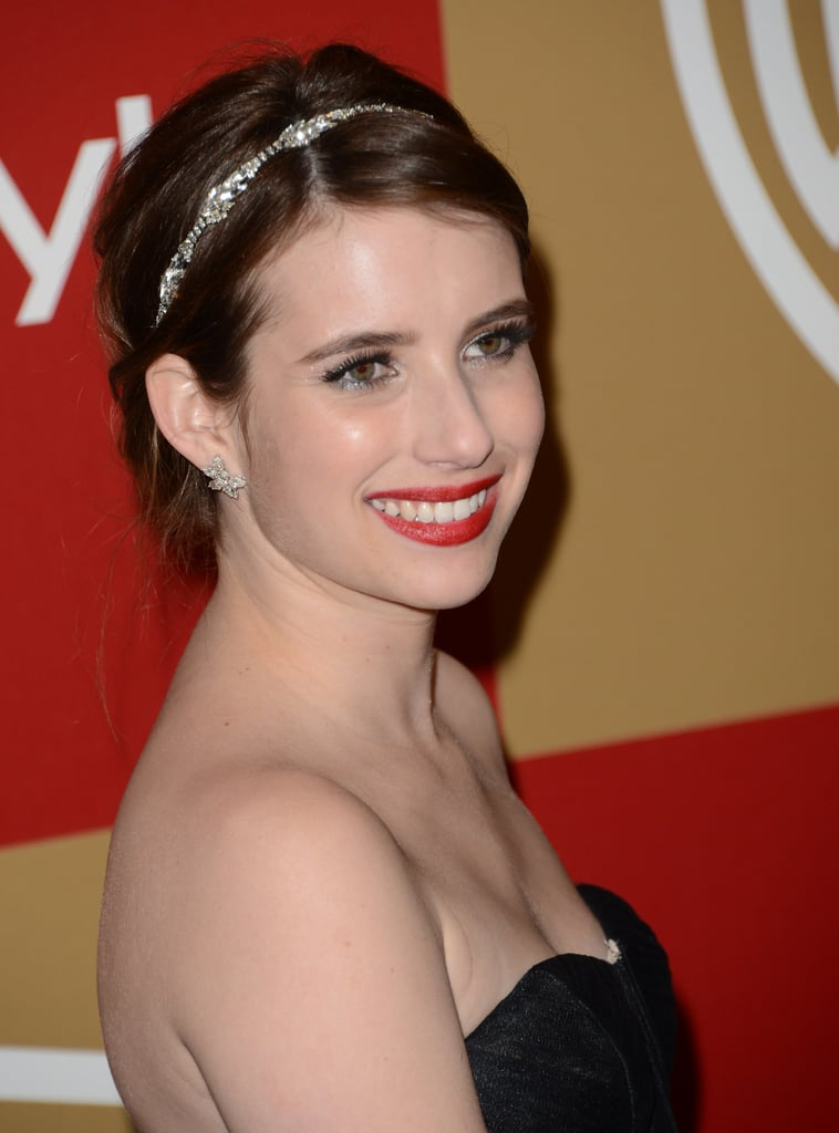 Emma Roberts wore a sparkly headband to the InStyle party.