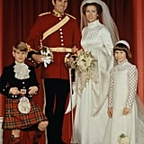 Anne's younger brother Edward was a member of her wedding party, as was her cousin, Princess Margaret's daughter Lady Sarah Armstrong-Jones. Anne and Mark had two children, Peter and Zara Phillips, and divorced in 1992.