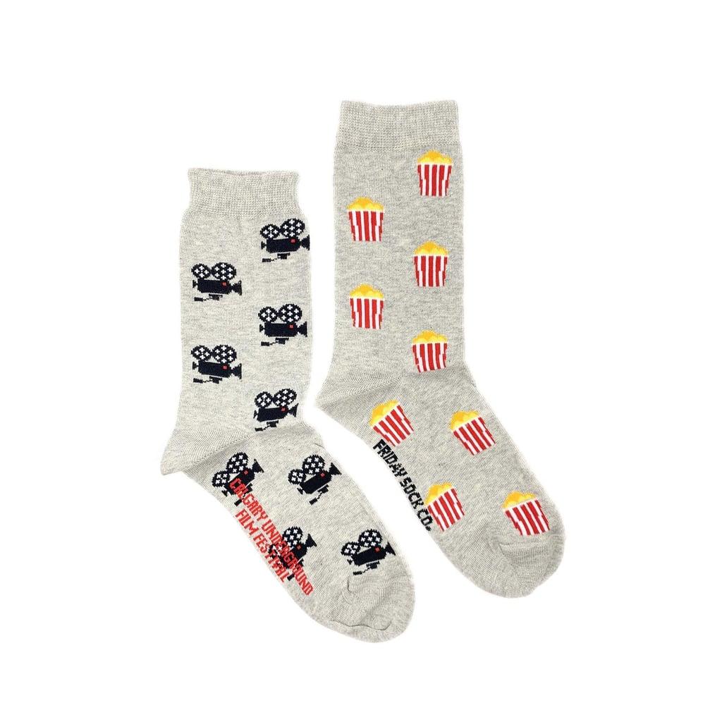 Movie Camera & Popcorn Mismatched Socks