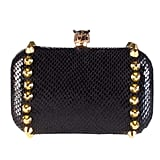 Val Clutch in Black Leather, $195